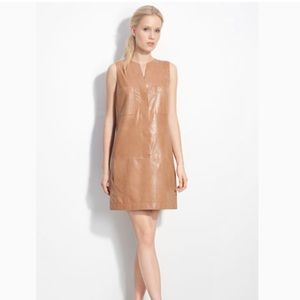 Vince sleeveless shift brown leather dress
